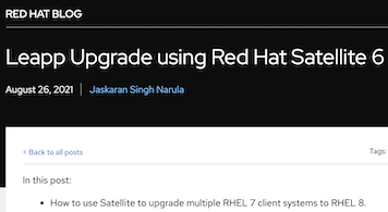 Leapp Upgrade using Red Hat Satellite 6