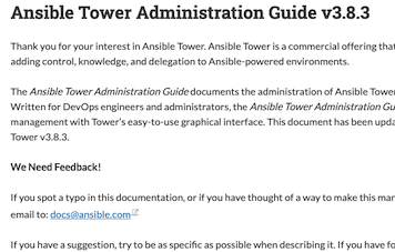 Red Hat Ansible Tower documentation gets a version selector drop-down