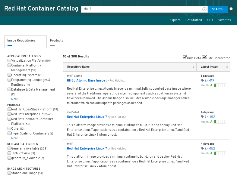 Red Hat Container Catalog search results