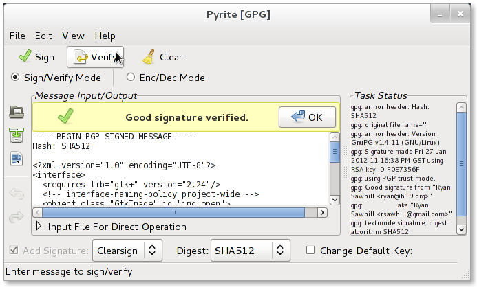 Has a separate sign verify mode for doing signing verifying without  encryption. Allows creating clearsign or detached signatures. 30a25f9e0