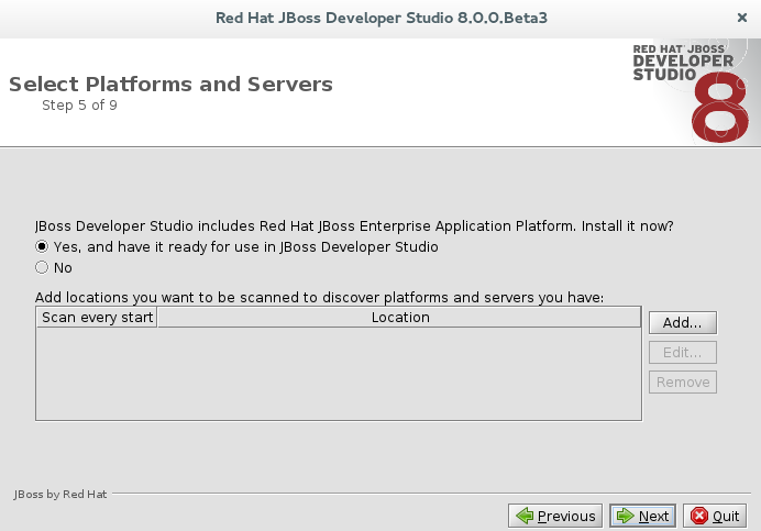 Select Platforms and Servers window confirming the installation of JBoss EAP and having it ready for use from within JBoss Developer Studio