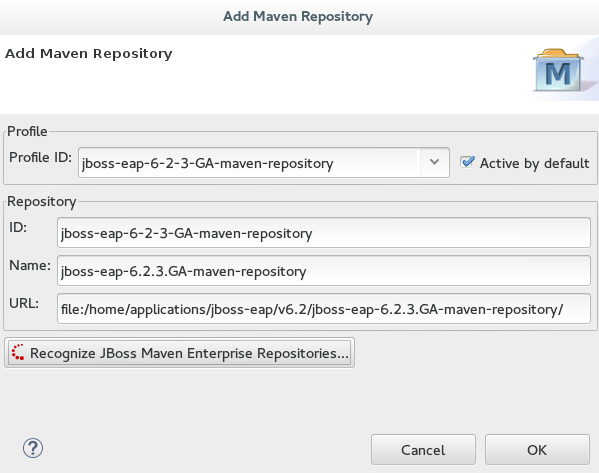 Add Maven Repository window showing the details of the selected JBoss EAP version Maven repository