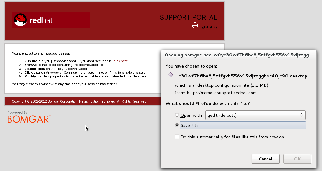 How do I join a remote support session via Bomgar? - Red Hat