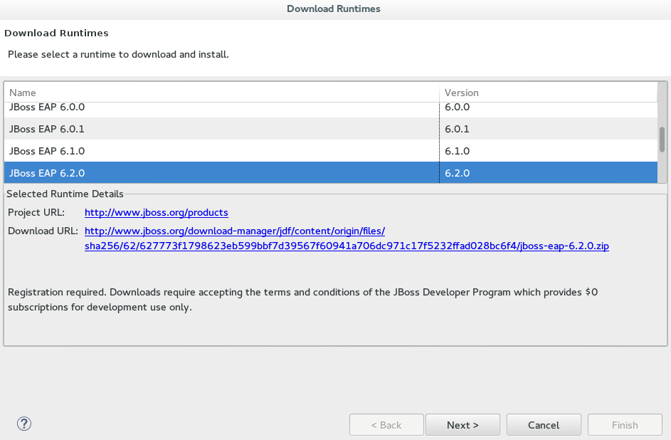Download Runtimes window listing JBoss EAP versions available for downloading and installing