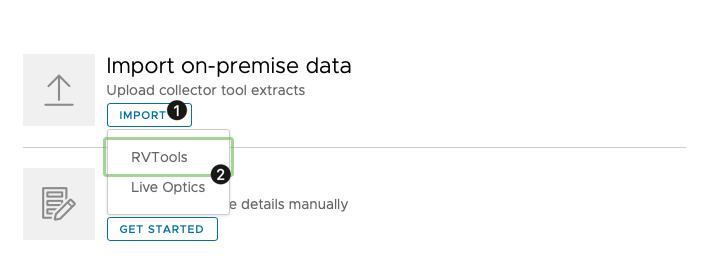 VMC Sizer data import