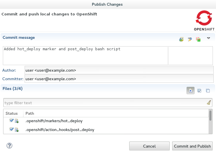Committing and Publishing Changes to OpenShift