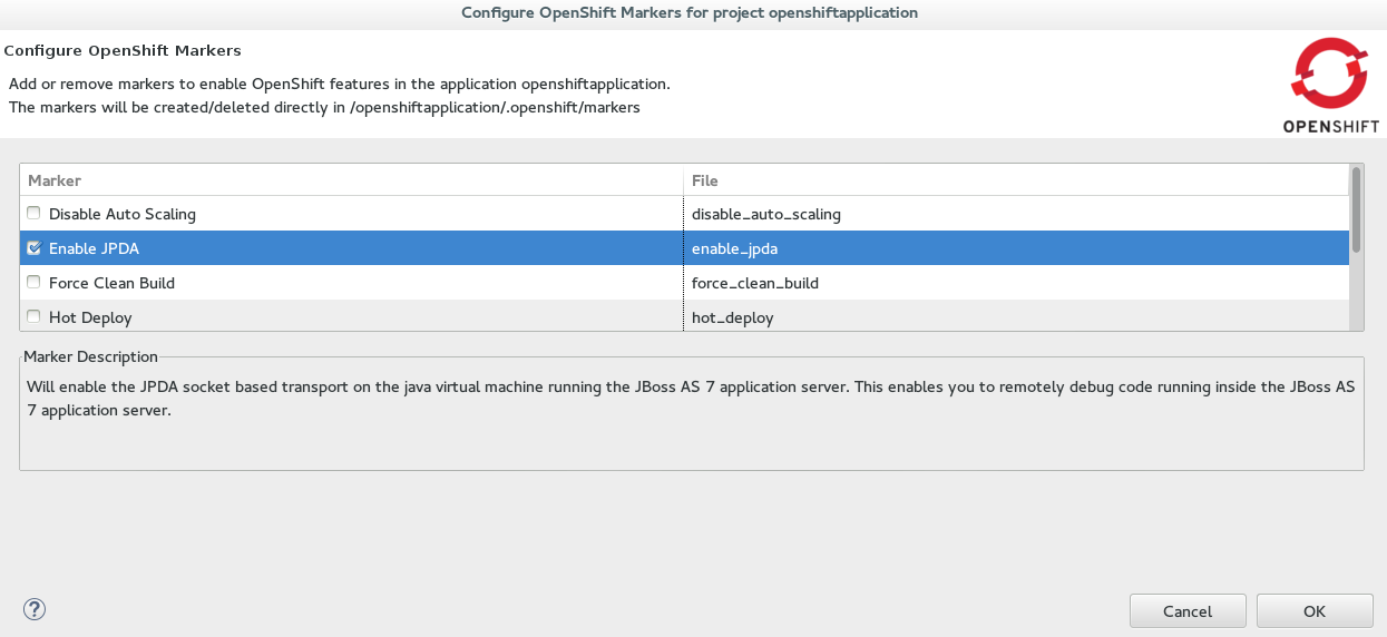 OpenShift Enable JPDA Marker Selected