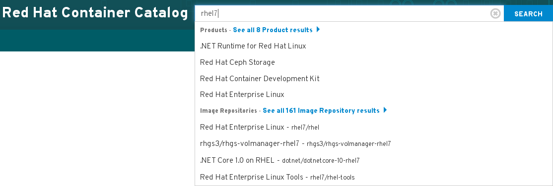 Red Hat Container Catalog search box
