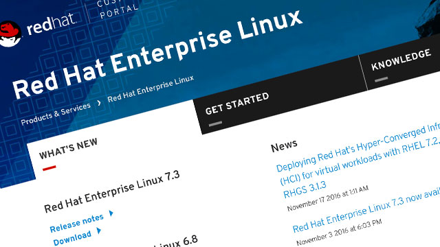 Screenshot of Red Hat Enterprise Linux product page
