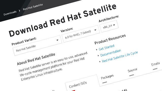 Red Hat Satellite 6 download page screenshot