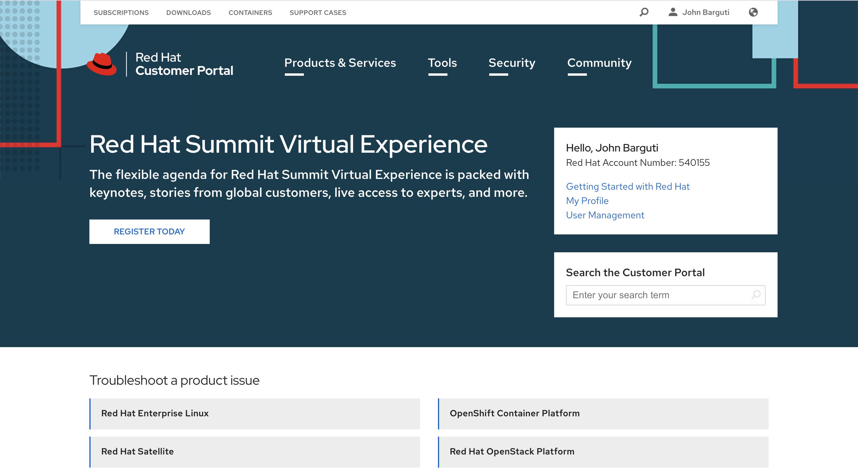 Customer Portal homepage