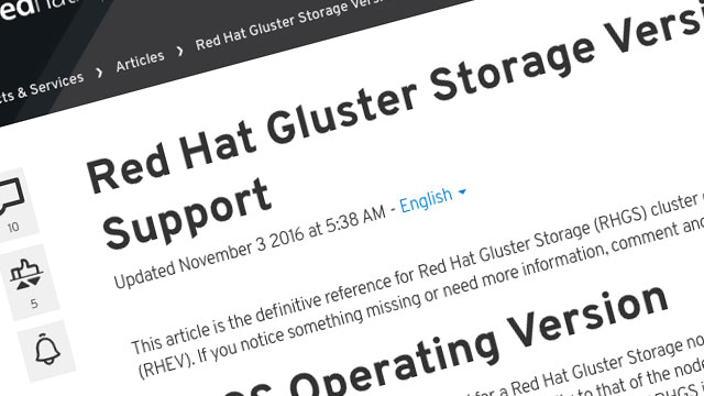 Updated Gluster compatibility and support documentation screenshot