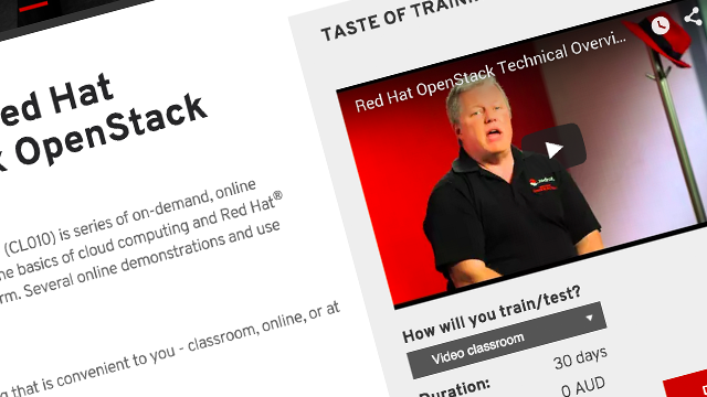 Red Hat OpenStack training course page screenshot