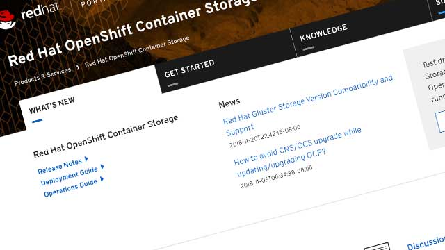 New Customer Portal product page for Red Hat OpenShift Container Storage (OCS)