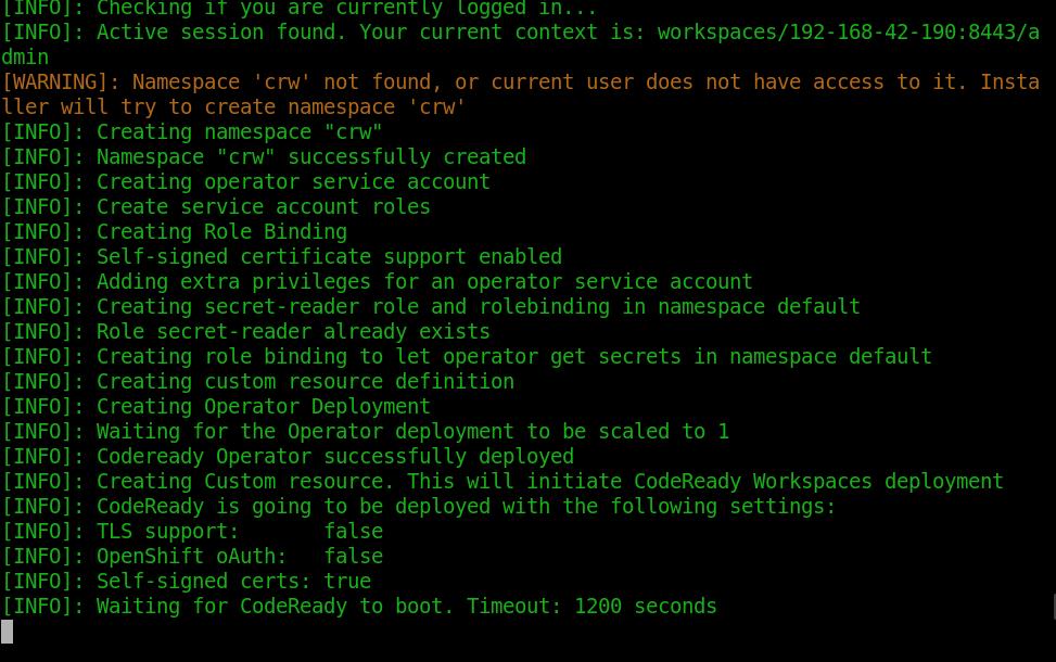 Red Hat CodeReady Workspaces deploy script running
