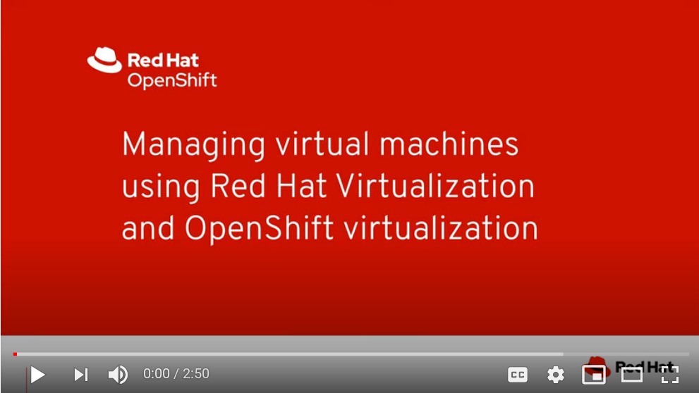 OpenShift Virtualization VMs using the Red Hat Virtualization Manager