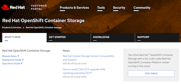 New product page for Red Hat OpenShift Container Storage (OCS)