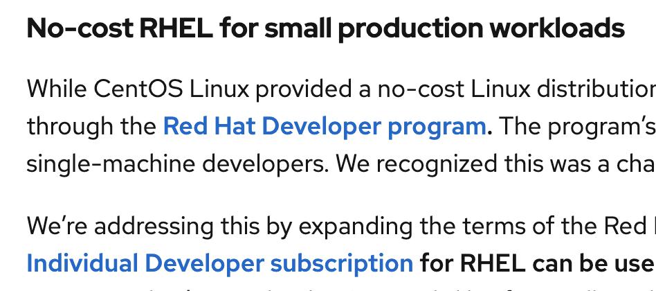 No-cost Red Hat Enterprise Linux (RHEL) program expanded