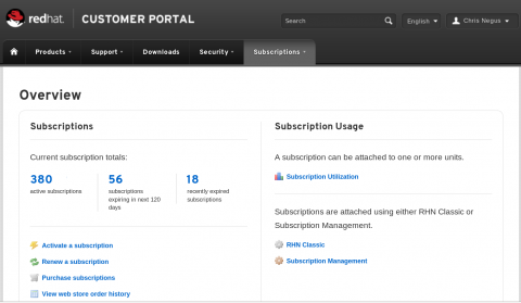 Subscription Managements on the Red Hat customer portal