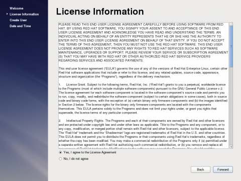 The License Information Screen