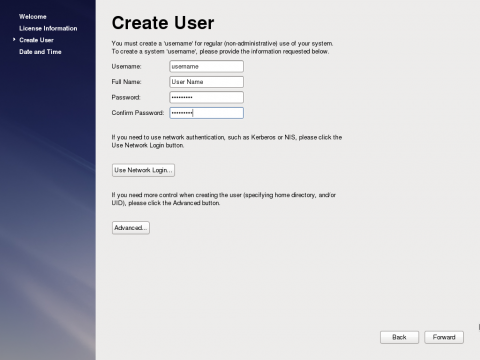 The Create User Screen