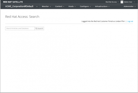 Red Hat Access Search Landing Page