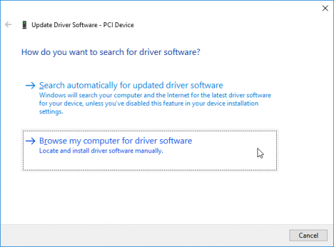The Update Driver Software wizard