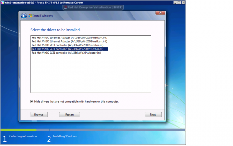 RHV - Installing drivers in a Windows VM for accessing the