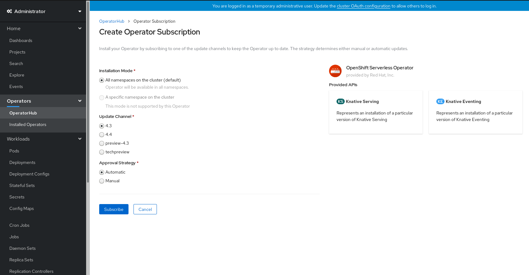 Create Operator Subscription ページ