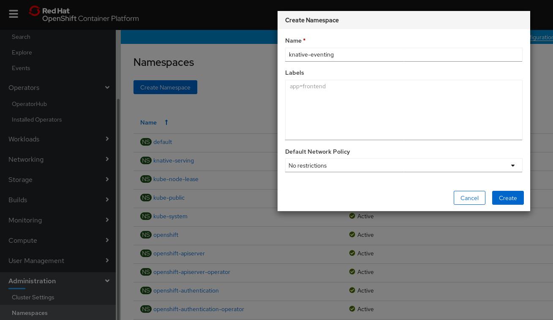 `knative-eventing` namespace の作成