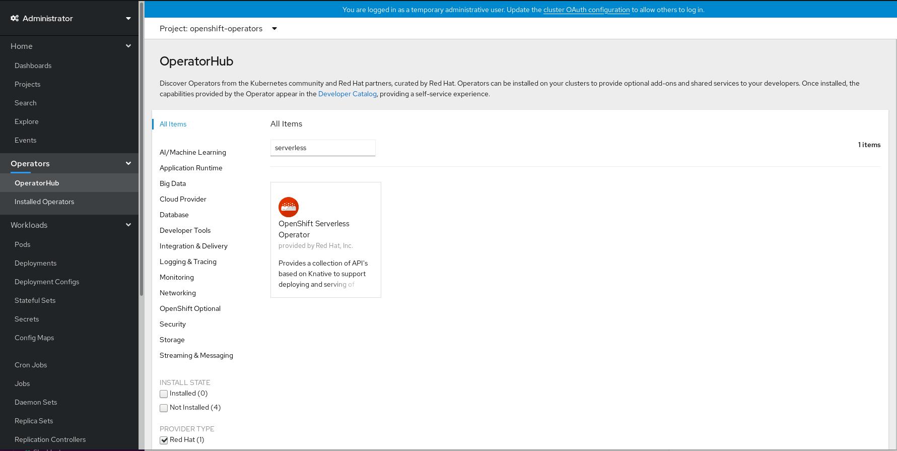 Azure Red Hat OpenShift Web コンソールでの OpenShift Serverless Operator