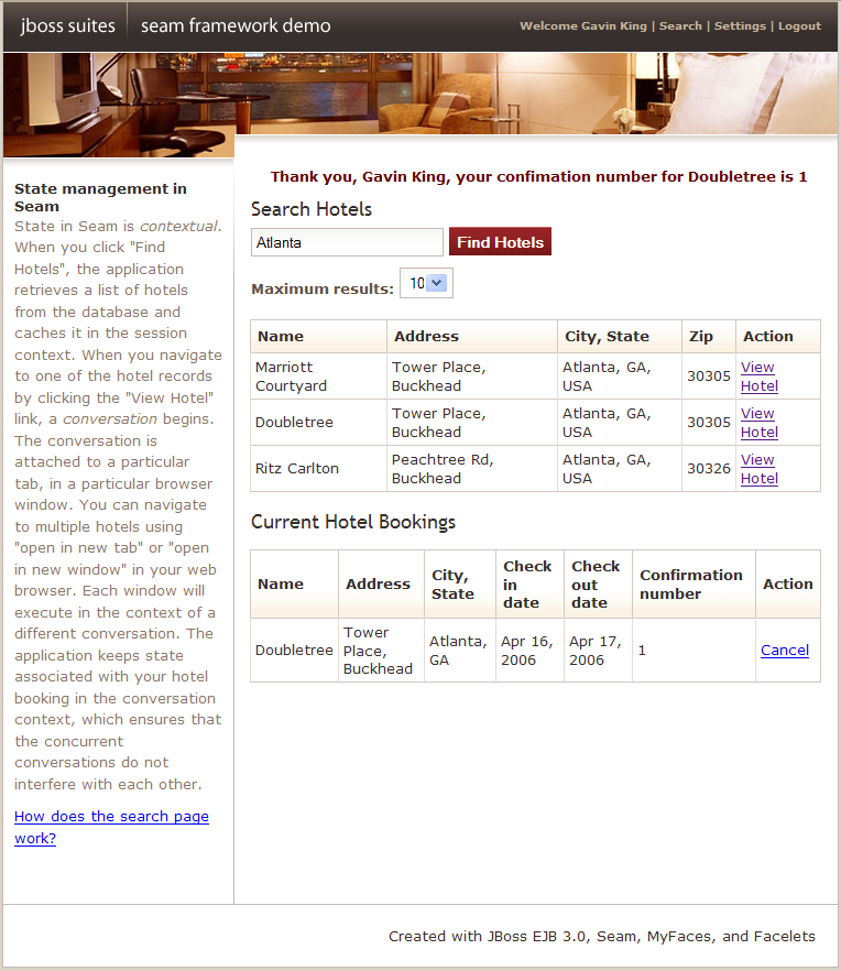 1.6. A complete Seam application: the Hotel Booking example - Red ...