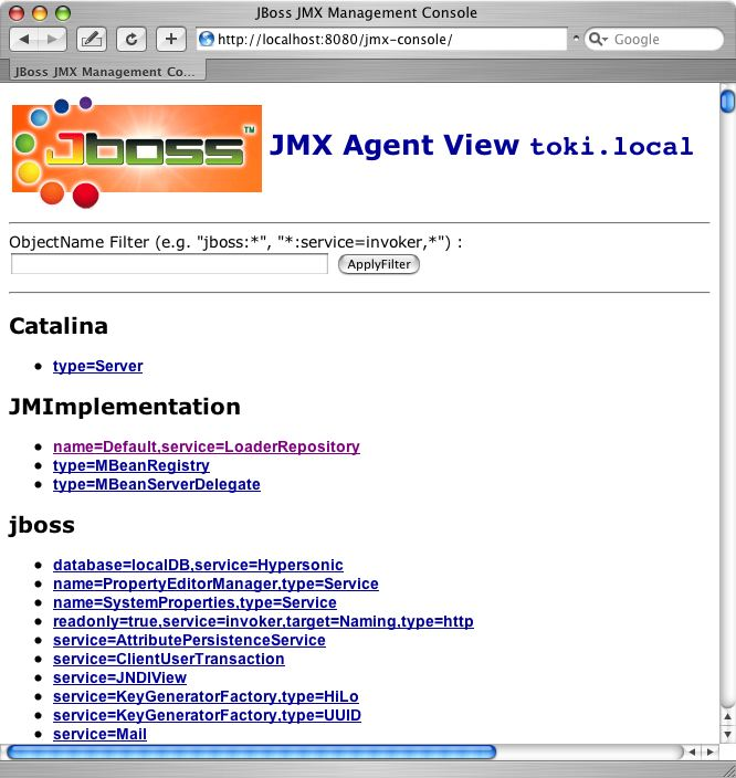 The JBoss JMX console web application agent view