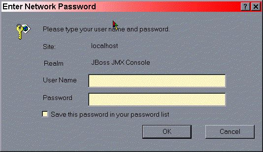 The JMX Console basic HTTP login dialog.