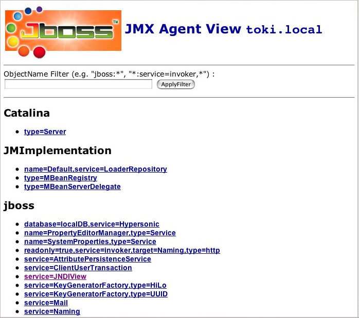 The JMX Console view of the configured JBoss MBeans