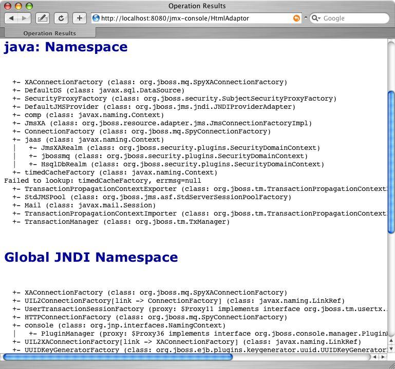 JNDIView のリスト操作出力をJMX Console で表示