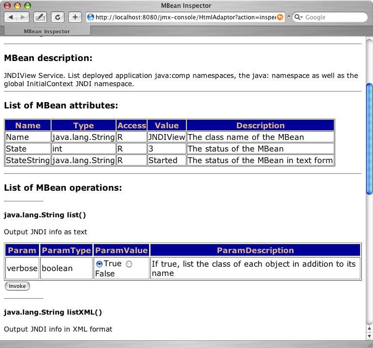 JNDIView MBean を JMX Console で表示