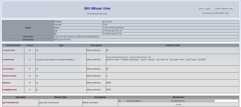 JMX Console - JMX MBean View