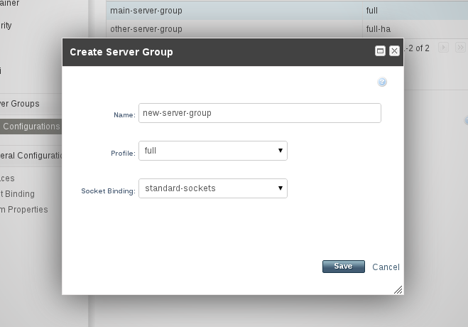The Create Server Group dialog