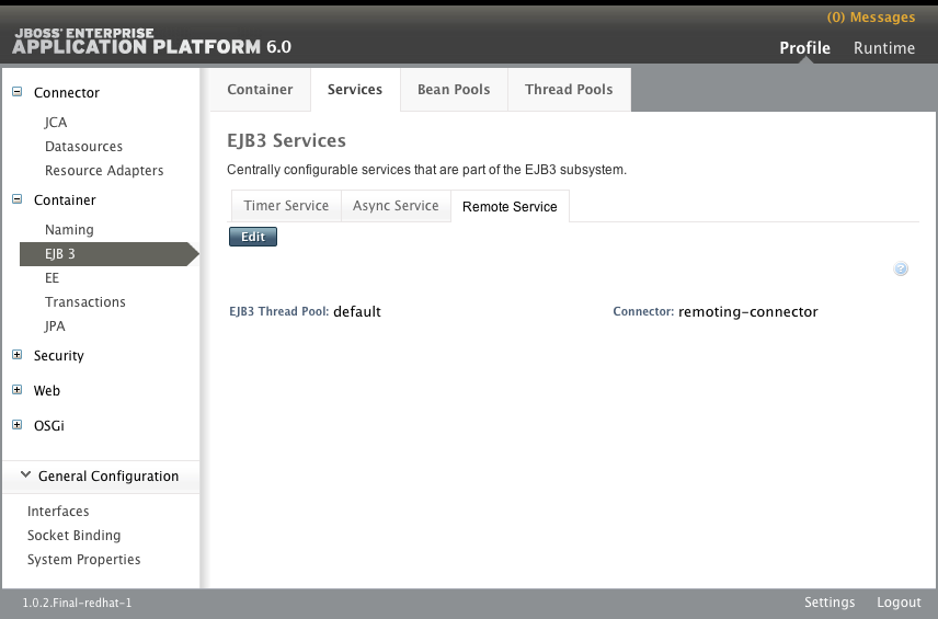 The Remote Service tab of the EJB3 Services panel