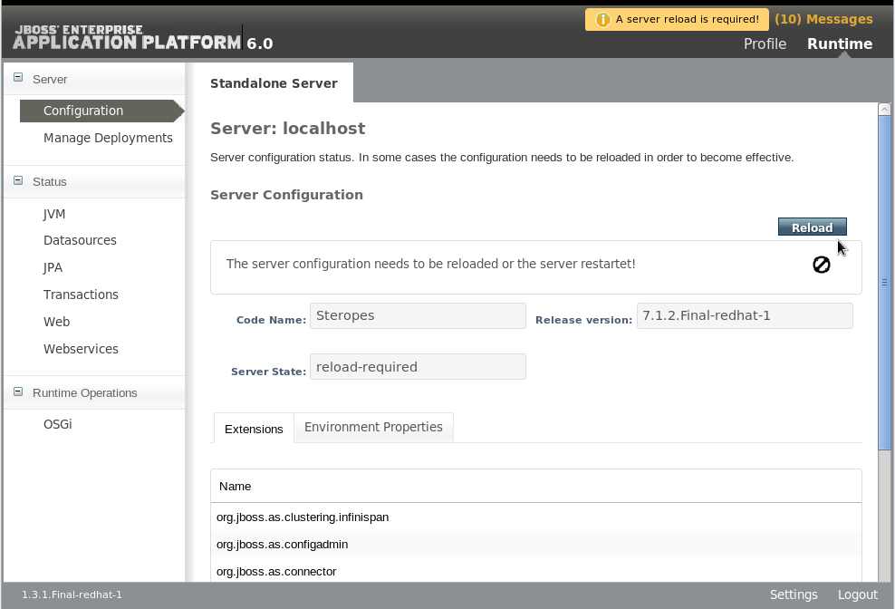 Server Configuration Reload