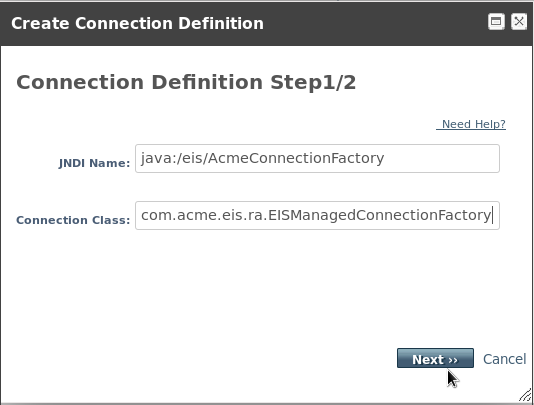 Create Connection Definition Property - Step 1