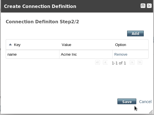 Create Connection Definition Property - Step 2