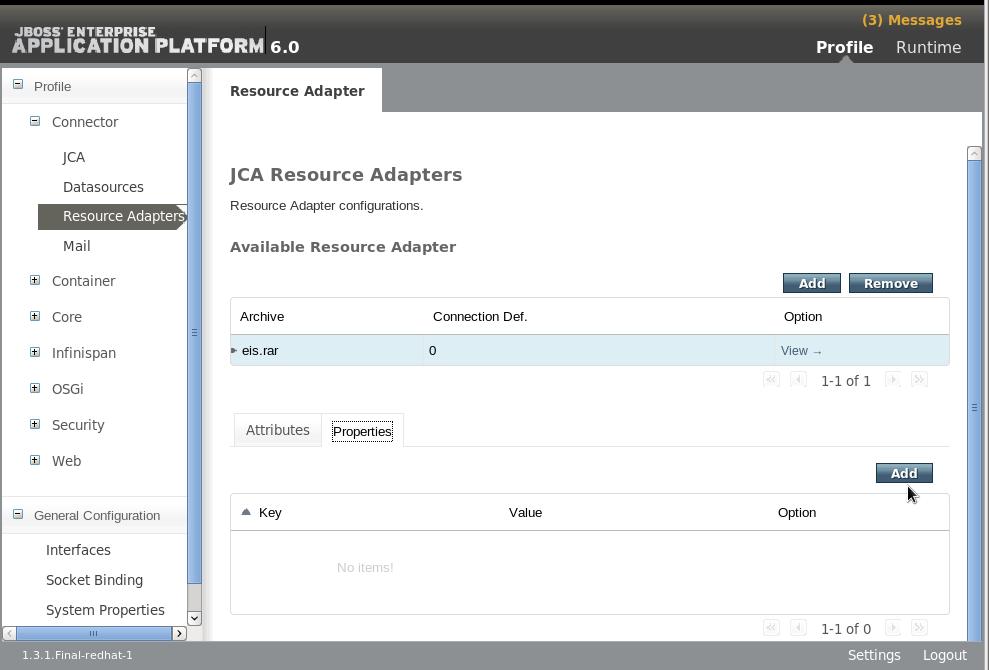 Add Resource Adapter Properties