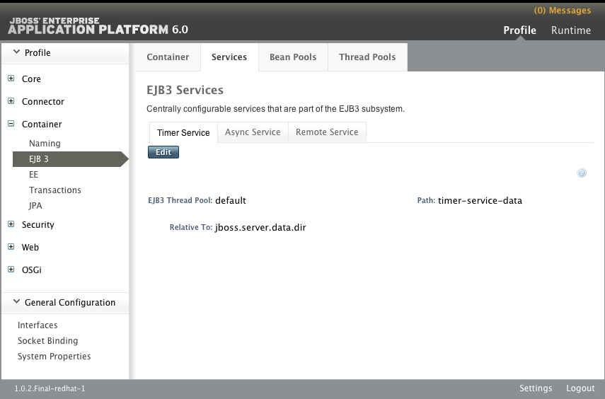 Timer Service tab of the EJB3 Services panel