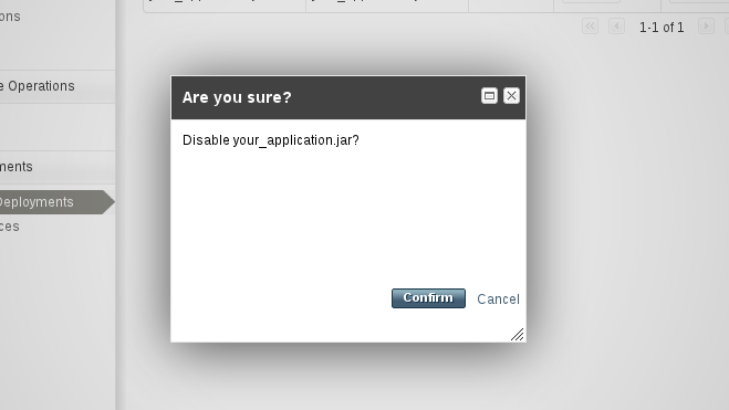 Confirm the application to disable
