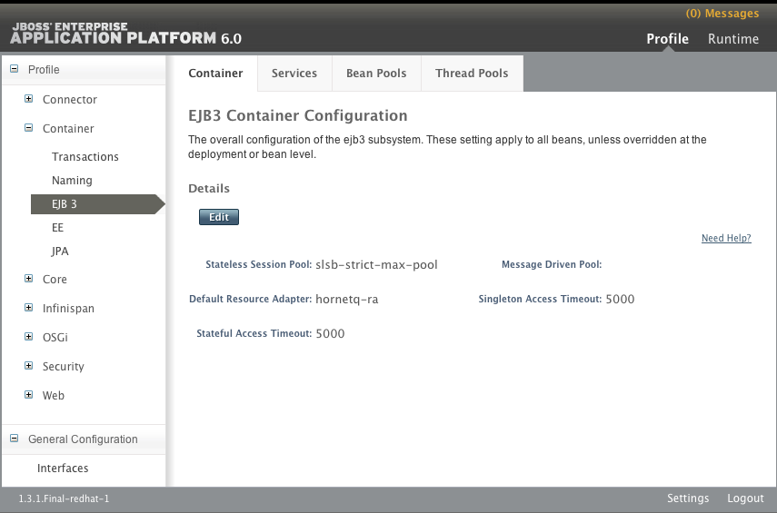 EJB3 Container Configuration panel in the Management Console (Standalone Server)