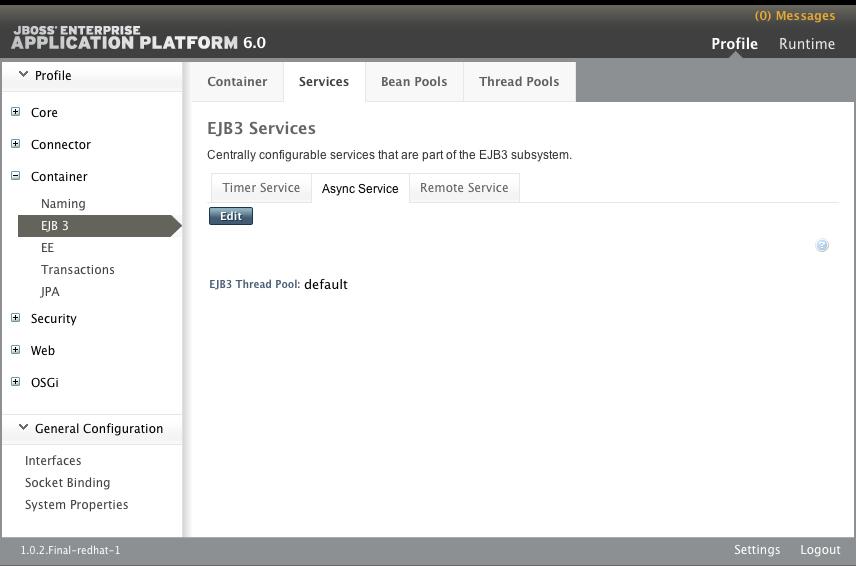 EJB3 Services パネルの Async Service タブ