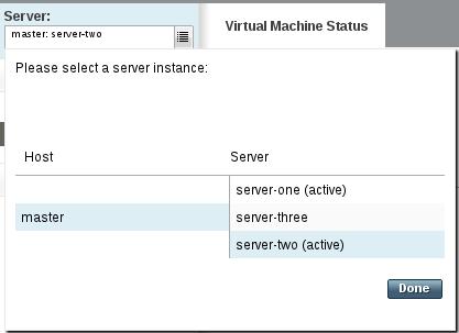 管理ドメインの JVM 状態サーバーメニュー