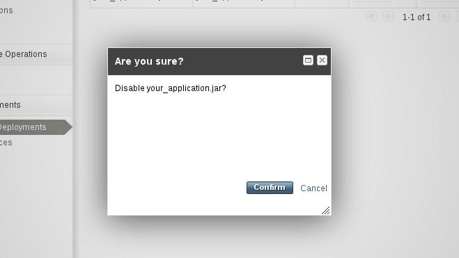 アプリケーションの無効化を確定